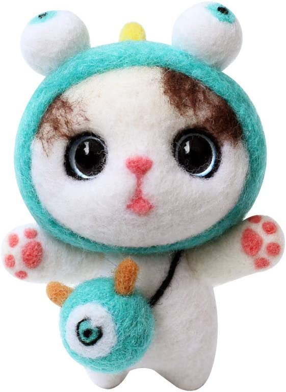 Cute Cat Childrens Day Other Festival and Crafts Kitten Wool Felting Supplies for Christmas Haayward Needle Felting Kit for Beginners Needle Felting Character Starter Kit