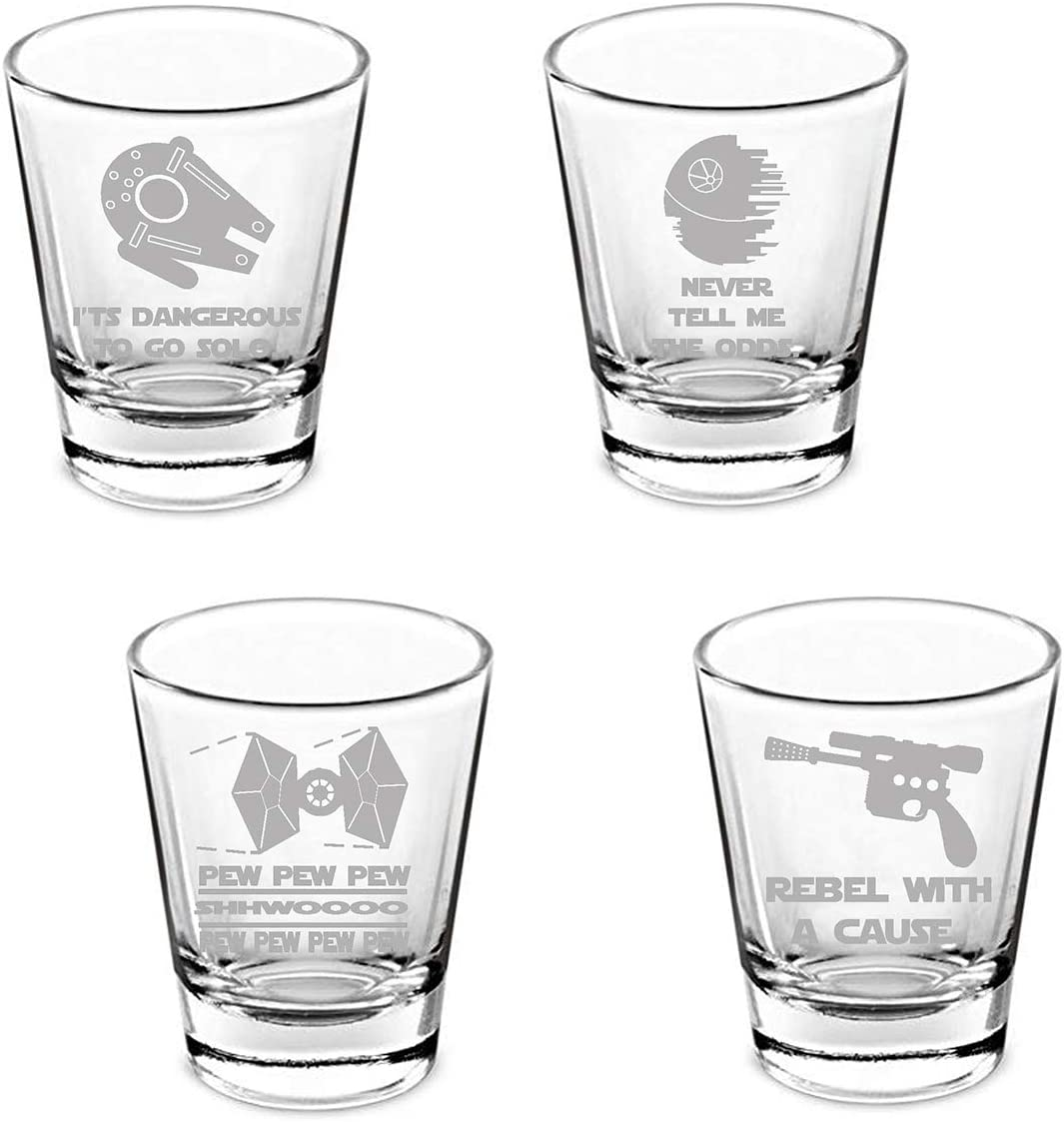 SW Etched Shot Glass Set of 4