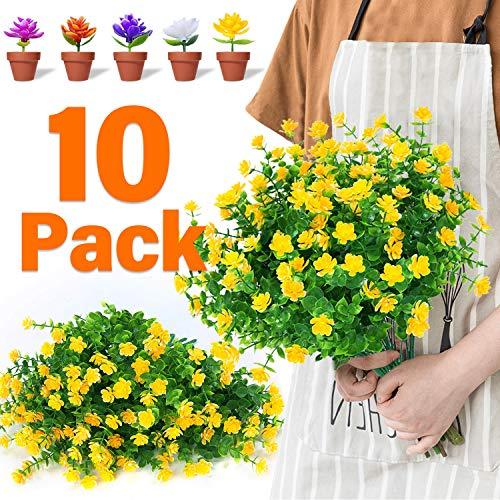 Amazon Com 10pack Artificial Flowers Outdoor Uv Resistant Plastic