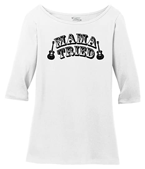 9e404719914473 Ladies 3/4 Sleeve Tee Mama Tried Cute Country Music Southern Rebel Shirt  Bright White
