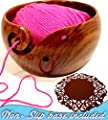Yarn Bowl, Knitting and Crochet Bowl,Yarn Bowls for Storage 6x3 With FREE 4 inch Non-Slip Silicone Basemat Heavy Durable Wooden Handmade Sheesham Wood Unbreakable Quality Brought to you by CPP Global