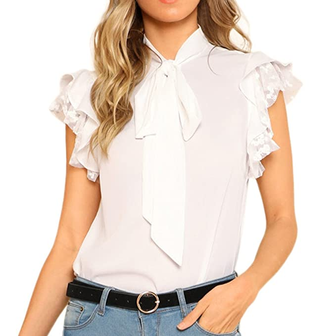 5b6033dc00c258 HTDBKDBK Women Solid Color Ruffles Sleeve Bow Tie Lace Thin Chiffon Blouse  Top Causal Loose Tank