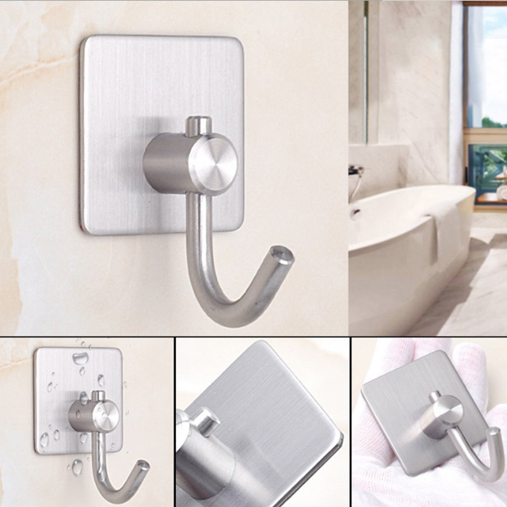 llwei258 Adhesive Sticker Stainless Steel Rustproof Hook Wall Door Clothes Towel Hanger