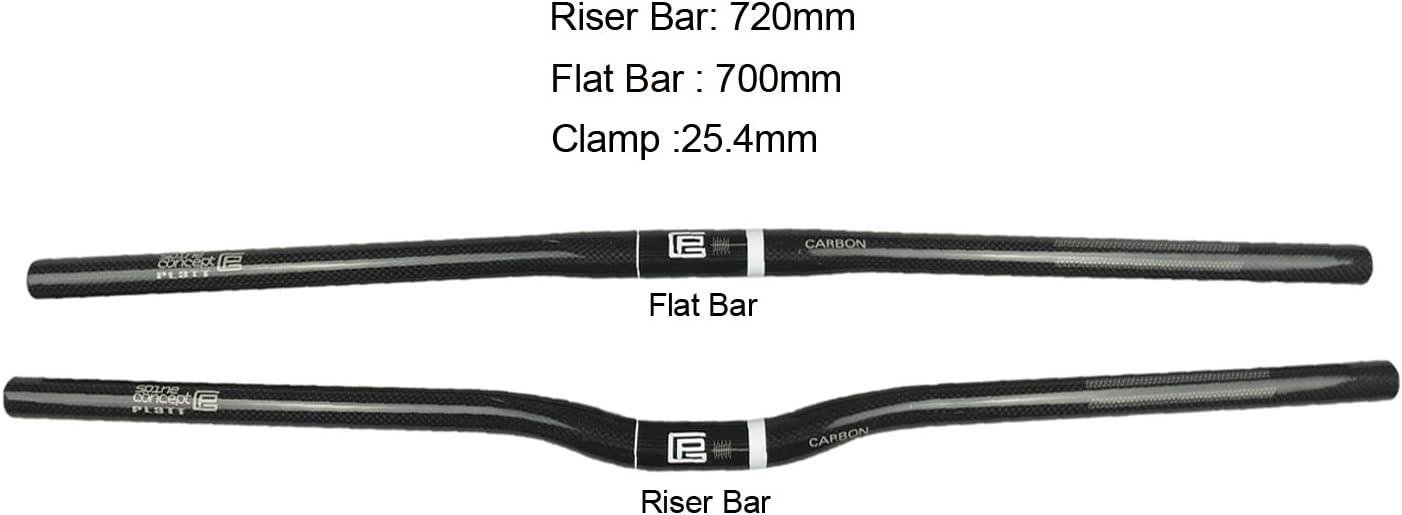 25.4 mm PLATT Guidon de v/élo en fibre de carbone l/éger Relev/é Guidon Cintre VTT et v/élos de route