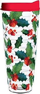 product image for Smile Drinkware USA-Holly Leaves Watercolor 26oz Tritan Insulated Tumbler with Lid and Straw
