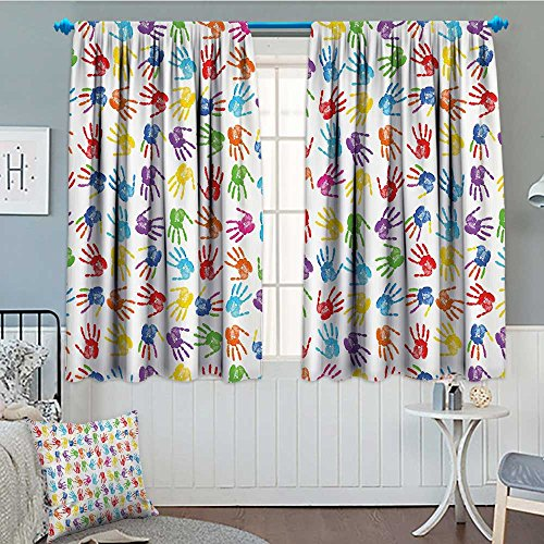 SeptSonne-Home Colorful Decor Thermal Insulating Blackout Curtain Human Handprint Kids Watercolor Paint Effect Open Palms Collage Art Work Print Patterned Drape for Glass Door 52