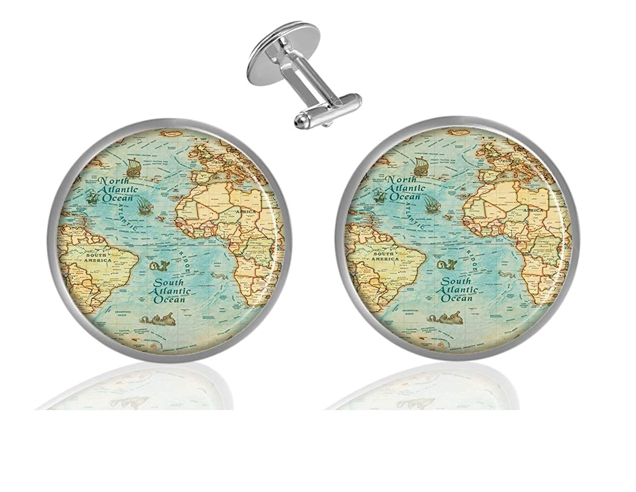 Sechao World map Custom Elegant Personalized Business Wedding Shirt Formal Cufflinks Kit