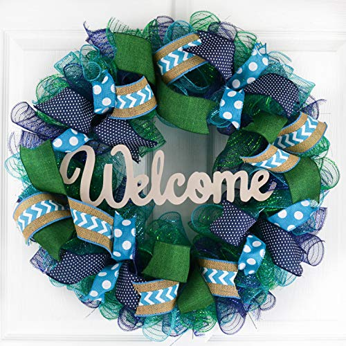 Mother's Day Gift Ideas | Everyday Wreath | Mesh Door Wreath | Navy Blue Kelly Green Turquoise P3 ()