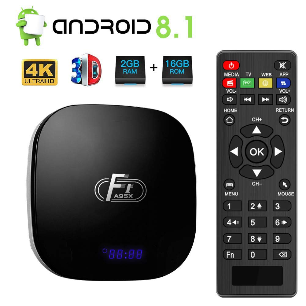 Android 8.1 TV Box,Dolamee F1 Smart tv Box 2GB RAM 16GB ROM Amlogic Quad Core 64bit Processor Smart Media Player,Support 4K 1080P 3D 2.4GHz WiFi 10/100M Ethernet LAN by DOLAMEE