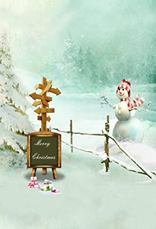 Baocicco 5x7ft Winter Scene Snow Day Backdrop Merry Christmas Cotton Polyester Photography Background Cute Snowman Wooden Road Sign Gift Box Snowflake