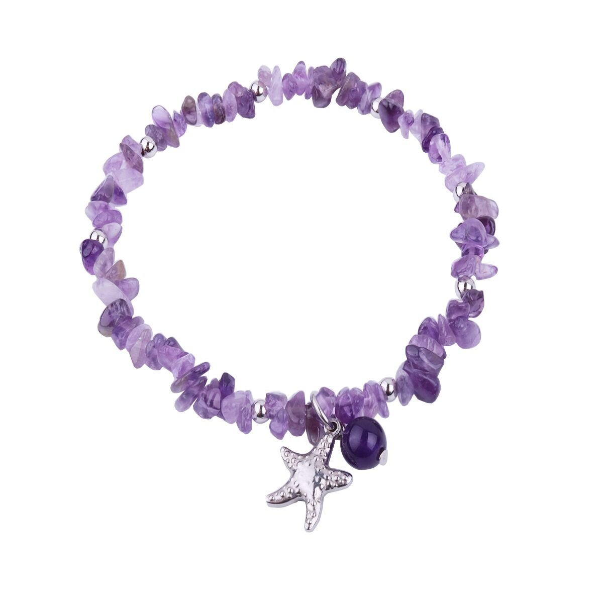 REEBOOOR Starfish Ankle Bracelet Amethyst Healing Stone Stretch Anklet Bracelet Chakra Beach Foot Jewelry for Women Girl (Amethyst with Starfish)