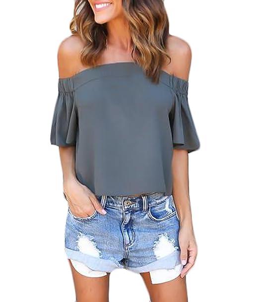 ... Barco Clásico Especial Cuello Blusa Sin Tirantes Ocasional Fashion Verano Unicolor Camisas Chiffon Tops Shirts Mujeres: Amazon.es: Ropa y accesorios