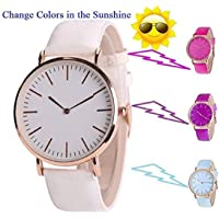 Skylofts 30mm Dial Color Changing Watch for Kids Girls Watch ( White to Pink)