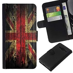 EJOY---La carpeta del tirón la caja de cuero de alta calidad de la PU Caso protector / Samsung Galaxy Core Prime / --Grunge de madera retro Bandera de Union Jack