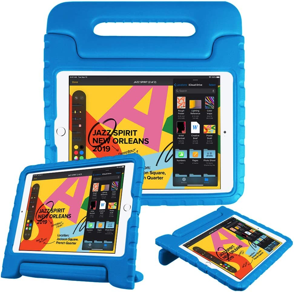 "Fintie Kids Case for New iPad 8th / 7th Generation, iPad 10.2 Inch 2020 / 2019 Case - Shockproof Light Weight Handle Stand Case, Compatible with iPad Air 3 10.5"" 2019 & iPad Pro 10.5"" 2017, Blue"