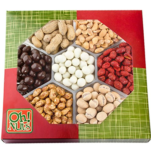Christmas Gift Set (Nuts Gift Tray 7 Variety Assortment, Gourmet Food Gift, Beautiful Packaged Nuts in Gift Box, Awesome Flavored Peanuts Gift - Oh! Nuts (Flavored Nuts)
