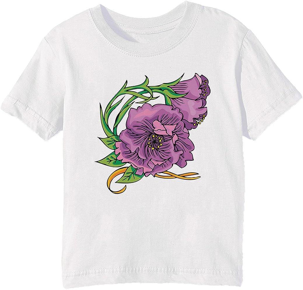 Lathyrus Flower morada Niños Unisexo Niño Niña Camiseta Cuello Redondo Blanco Manga Corta Tamaño XL Kids Unisex Boys Girls T-shirt White X-Large Size XL: Amazon.es: Ropa y accesorios