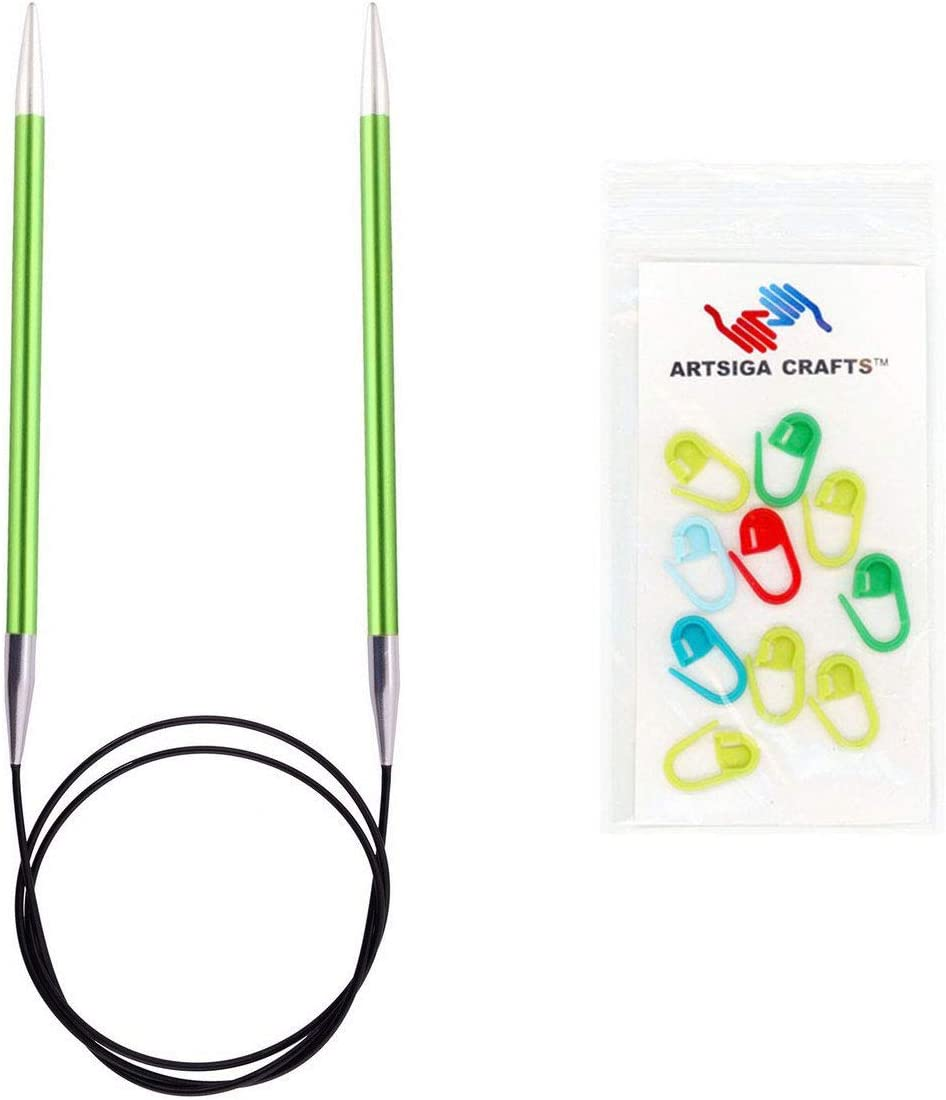 8mm Knitters Pride Knitting Needles Zing Fixed Circular 32 inch Size US 11 Bundle with 10 Artsiga Crafts Stitch Markers 140136