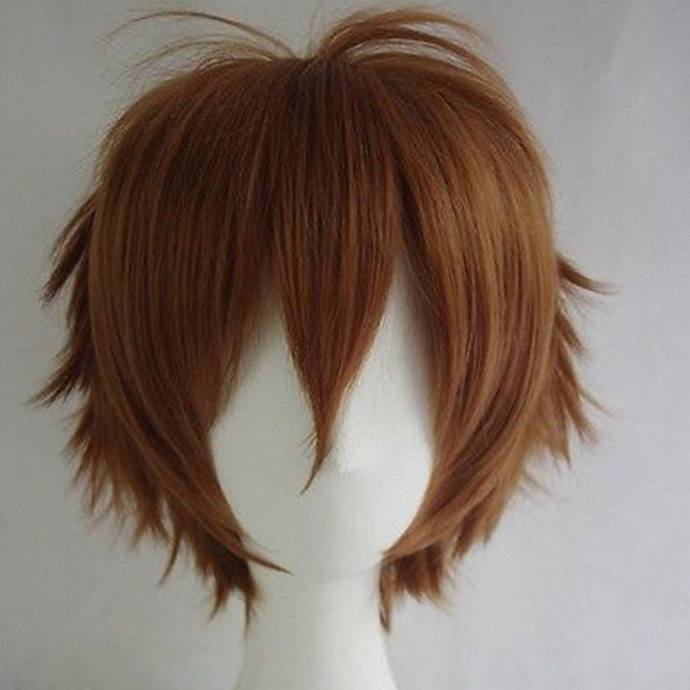 S-noilite Unisex Women Short Curly Straight Cosplay Wig Anime Hair Tail Full Wigs Dark Orange