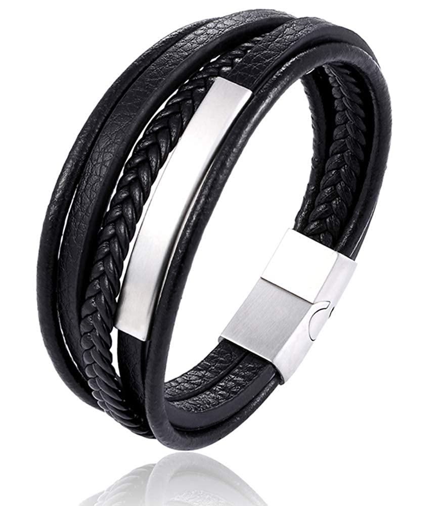 LOLIAS Leather Bracelet Magnetic-Clasp Cowhide Braided Multi-Layer Wrap Mens Bracelet