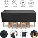 NASUM Furniture Cover, 315cm x 160cm x 74cm Large Waterproof Patio Set Cover, Outdoor Table Cover Against Wind and Water Anti-UV, Rectangular/Oval Oxford Fabric Cover, with Locking Rope and Buckle