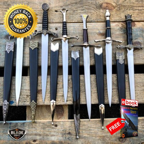 13'' Medieval Arthur King LOTR Historical Short Dagger Sword Fixed Blade Knife For Hunting Tactical Camping Cosplay + eBOOK by MOON KNIVES