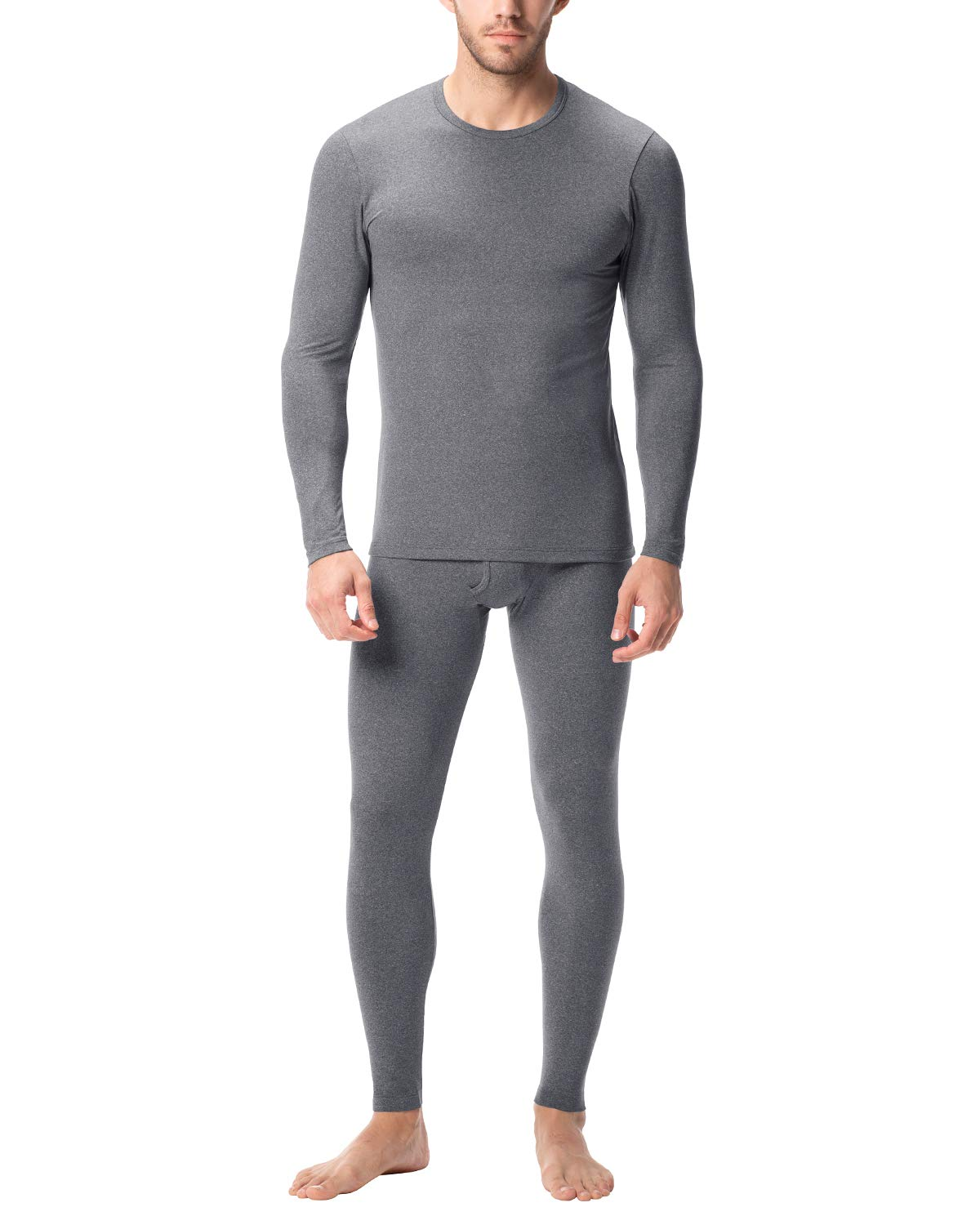 LAPASA Men's Midweight Thermal Underwear Long John Set Fleece Lined Base Layer Top and Bottom M57 (XX-Large, Midweight Dark Grey) by LAPASA