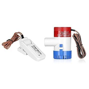 Barco Bomba de achique interruptor de flotador + Auto por leaningtech Bomba de fontanería eléctrica sumergible
