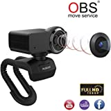 Ausdom Webcam Full HD 1080P Obs Live Streaming Web Camera with Microphone Video Calling and Recording for Computer Laptop Desktop 360-Degree Swivel Stream Camera Plug and Play Web Cam