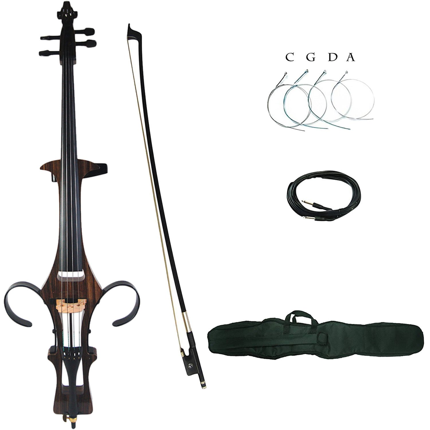 Aliyes Professional Handmade Solid Wood Electric Cello 4/4 Full Size Silent Electric Cello With bow, Case,Bridge Strings-1807