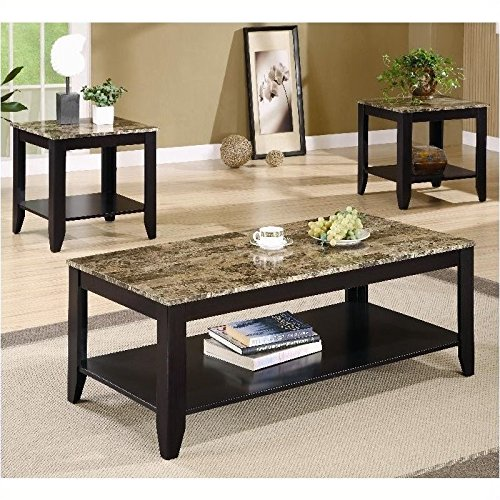 Coaster 3pc Coffee Table & End Table Set Faux Marble Top Esp