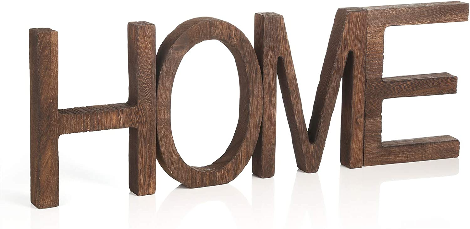 Pllieay Rustic Wood Home Letter Sign, Freestanding Wooden Home Letters for Home Decoration, 16.5 x 5.9 Inch