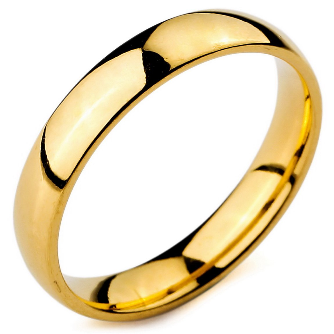 INBLUE Men,Women's Wide 4mm Stainless Steel Ring Band Gold Tone Wedding Size8