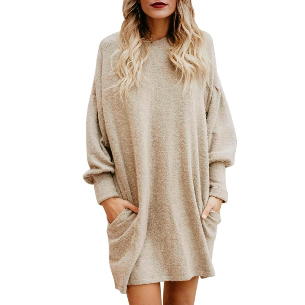 57f8977681d Sweater Dress ,Vanvler Women Long Sleeve Shirt Loose Blouse Pullover Casual  (Beige, M)