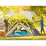 CORE Equipment 4 Person Instant Dome Tent - 9' x 7', Green 15 Instant 30 second setup; sleeps 4 people; fits one queen air mattress; center height: 54 Core H20 block technology and adjustable ground vent Features gear loft with lantern hook and pockets to keep items organized and off the tent floor