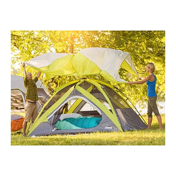 CORE Equipment 4 Person Instant Dome Tent - 9' x 7', Green 6 Instant 30 second setup; sleeps 4 people; fits one queen air mattress; center height: 54 Core H20 block technology and adjustable ground vent Features gear loft with lantern hook and pockets to keep items organized and off the tent floor