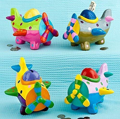 Airplane Bank (Multicolored Ceramic Plane Banks (1 Airplane)Baby Showers/Money Bank Gifts/Birthdays)
