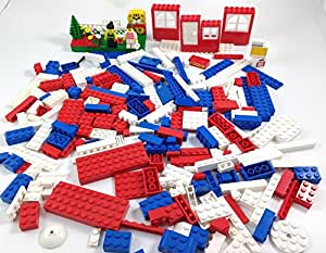 LEGO ONE POUND Bulk Lot + 2 Minifigures NOT RANDOM - SEE ACTUAL PICTURES Red White Blue Parts Pieces Windows Doors
