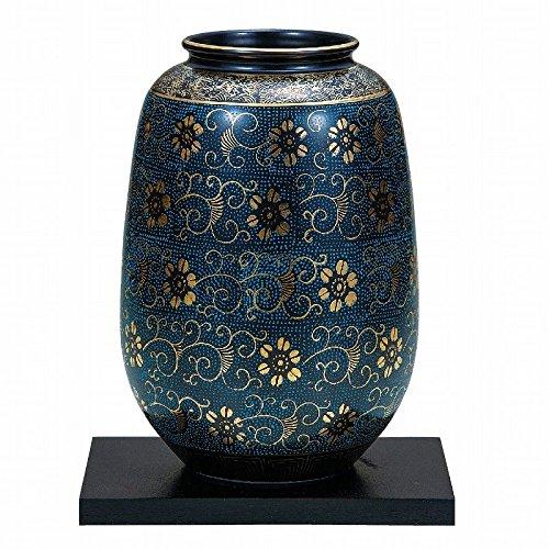 Jpanese traditional ceramic Kutani ware. Ikebana flower vase. Blue dott. With paper box. ktn-K5-1274
