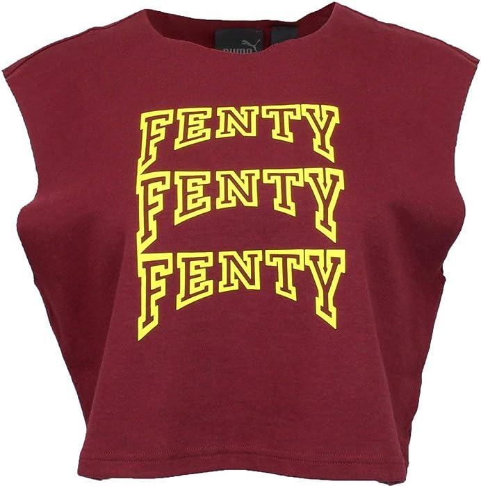 c489a213257 PUMA Women's x Fenty by Rihanna Sleeveless Crop Top Tawny Port X-Small
