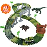 Nuheby Dino Track Dinosaur Toys Racing Car Flexible Car Track Set 142pcs -2 Toy dinosaurs,1 Military Vehicles,4 Trees,2 Slopes,1 Door,1 Bridge Party Games for Girls Boys 3 4 5 Years Old
