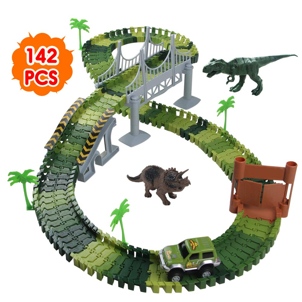 Nuheby Dinosaur Toys Car Racing with 142pcs Flexible Race Track Set -2Dinosaurs 1 Military Vehicles,4 Trees,2 Slopes,1 Door and 1 Bridge for Party Games 3 Year Old Girl&Boy Gifts
