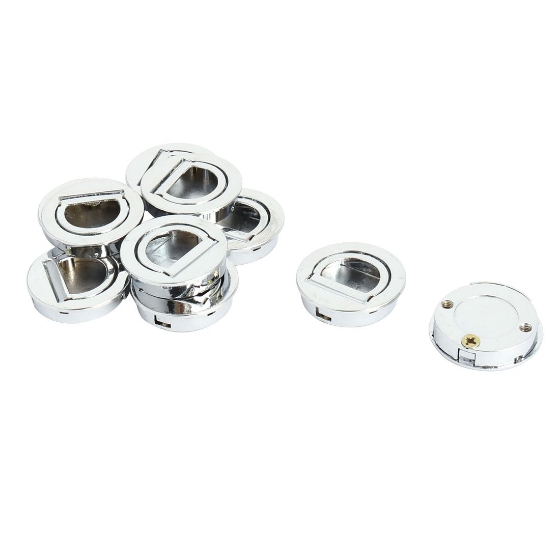 uxcell Furniture Door Cupboard Round Shaped Concealed Mount Pull Handle 10pcs Silver Tone