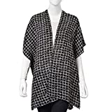 Navy with Coffee Chequer Pattern 100% Polyester Swimsuit Cover-ups Kimono For Women 27.5x35.4