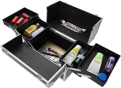 Estuche de maquillaje Cosméticos Doble Portátil Multilayer ajustables profesional cosmético organizador: Amazon.es: Belleza
