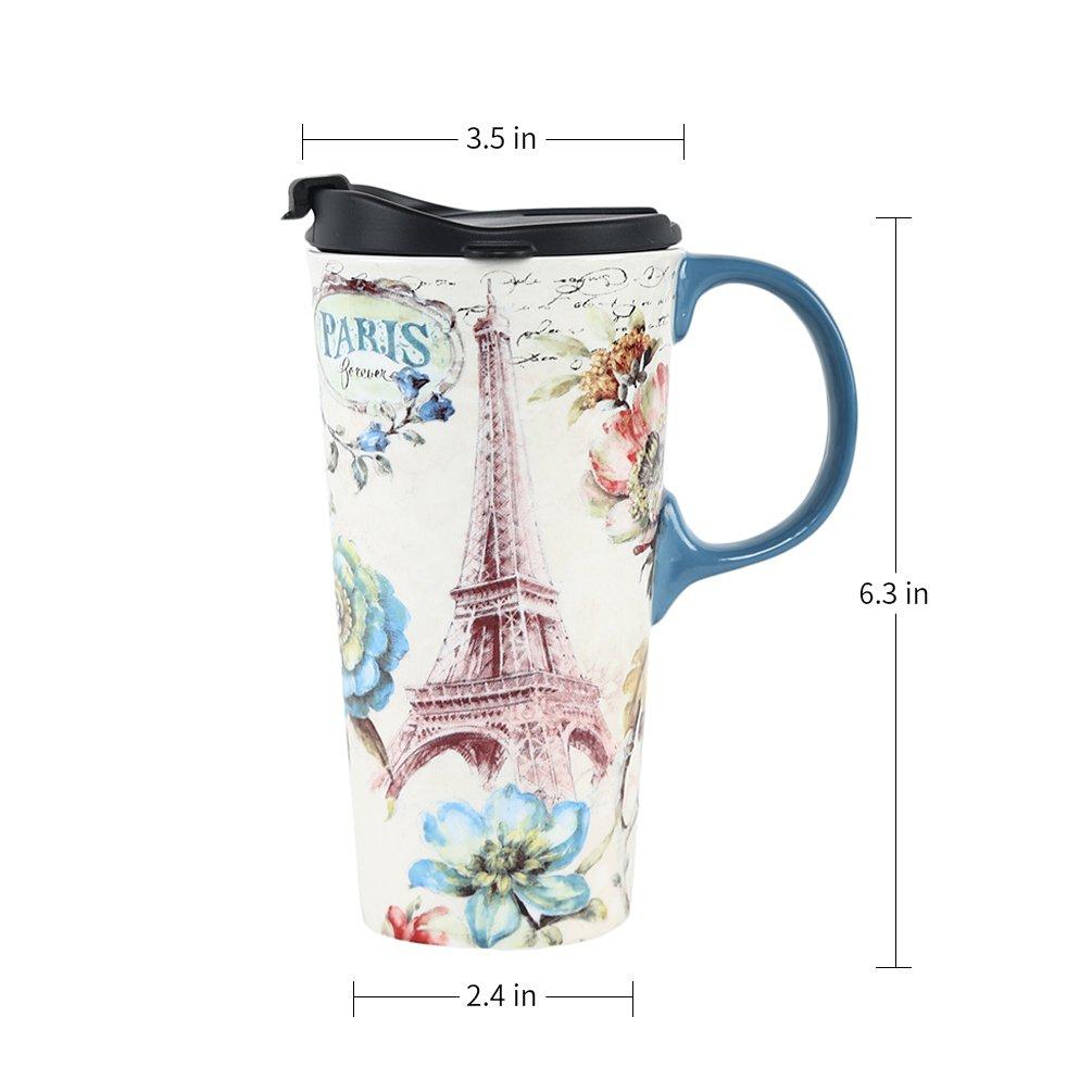 17oz Tall Ceramic Travel Mug Dishwasher Safe with Sealed Lid Colouration