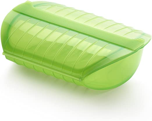 Lékué - Estuche de vapor con bandeja, 3-4 personas, color verde ...