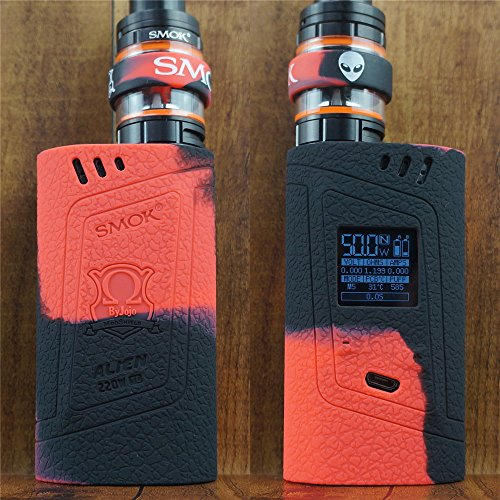 ModShield for Smok Alien 220W TC Silicone Case & TANK BAND ByJojo Skin Cover Sleeve Wrap Shield (Red/Black)