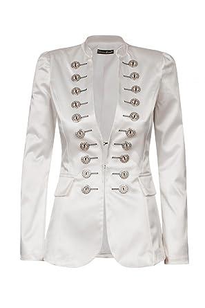c4bc2aed64ab Laeticia Dreams Damen Business Freizeit Jacke Blazer Militär Style Neu,  Farbe Weiß Glanz
