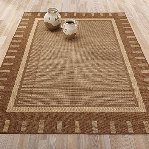 Jardin Collection Brown Contemporary Bordered Design Indoor / Outdoor Jute  Backing Area Rug (5'3